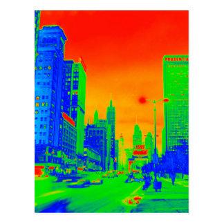 Postal Colorido de neón de la noche 1967 de la avenida de