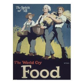 Postal Comida WWI - Dibujo animado del vintage