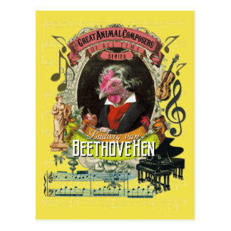 Postal Compositor animal Beethoven de la gallina