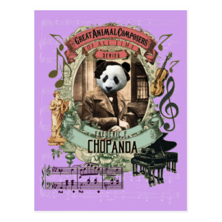 Postal Compositor animal Chopin de la panda divertida de