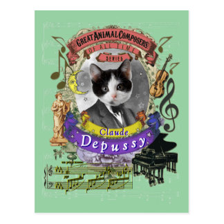 Postal Compositor animal Debussy del gato divertido de