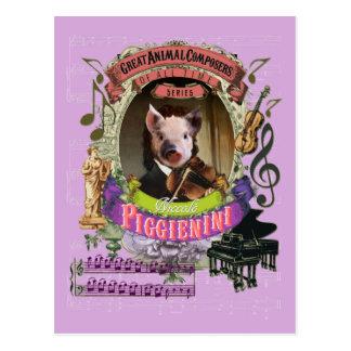 Postal Compositor animal Paganini del cerdo divertido de