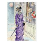 Postal Compras púrpuras de la ventana del vestido de la