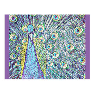 Postal con diseño bonito del pavo real