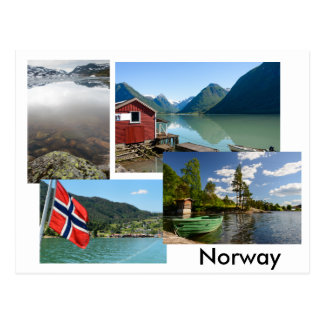 Postal con diversos paisajes en Noruega