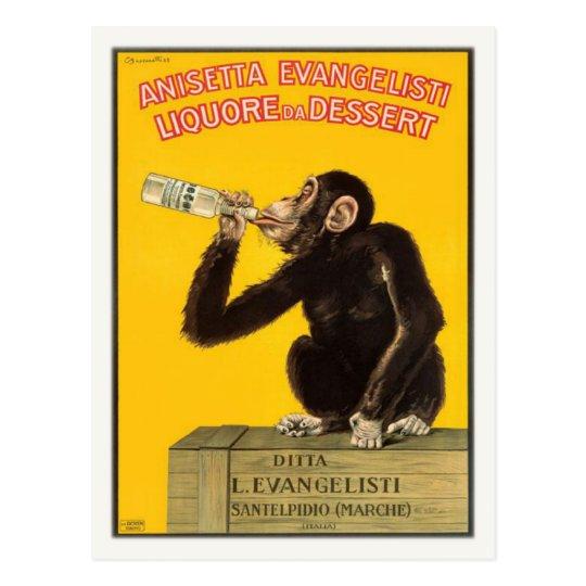 Postal con el poster de consumición del mono