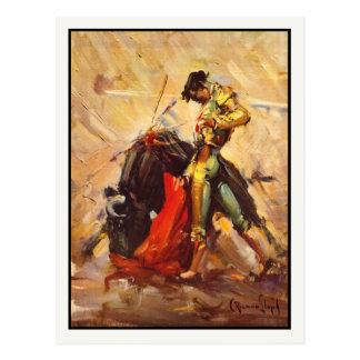 Postal con el poster de la lucha de Bull del