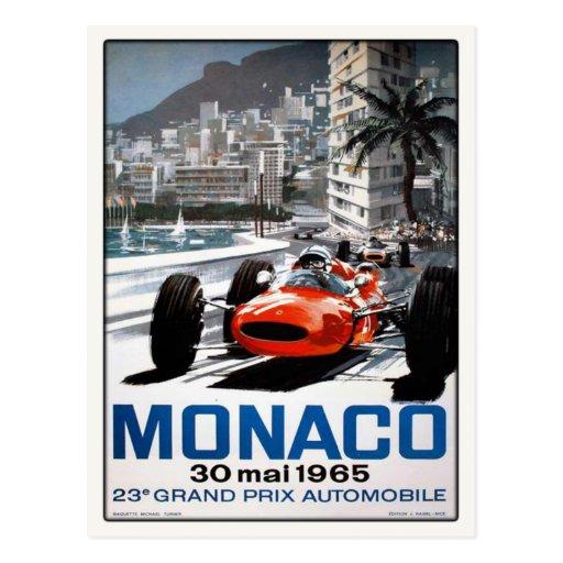 Postal con el poster de Mónaco Grand Prix