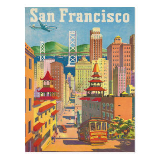 Postal con el poster de San Francisco del vintage Postal