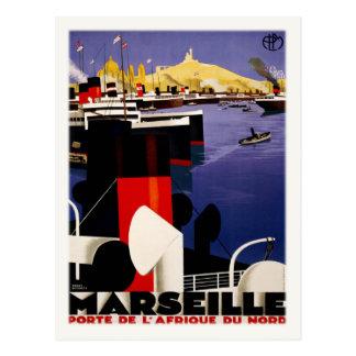 Postal con el poster del puerto del vintage