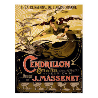 Postal con el poster del teatro del vintage
