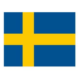 Postal con la bandera de Suecia