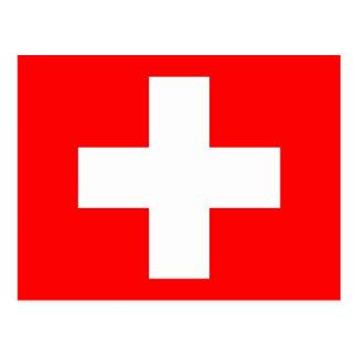 Postal con la bandera de Suiza