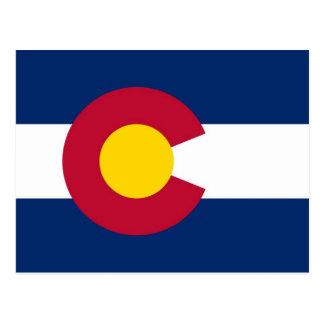Postal con la bandera del estado de Colorado - los