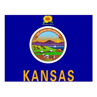 Postal con la bandera del estado de Kansas - los