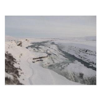 Postal con la cascada de Gullfoss en la nieve