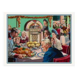 Postal con la comida de la acción de gracias del