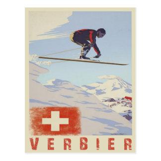 Postal con la impresión del esquí del vintage de