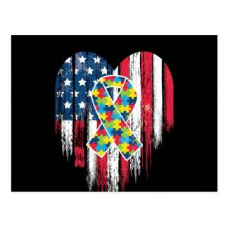Postal Conciencia del autismo del corazón de la bandera