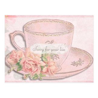 Postal Condolencia de la taza y de los rosas de té del