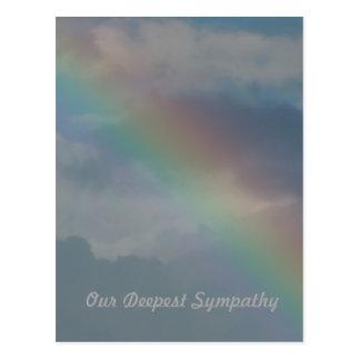 Postal Condolencia, raya colorida del arco iris en el