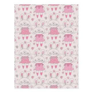 Postal Conejitos felices en rosa