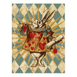 Postal Conejo del blanco de Alicia del vintage