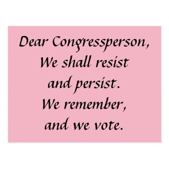 Postal Congressperson persiste se opone recuerda voto