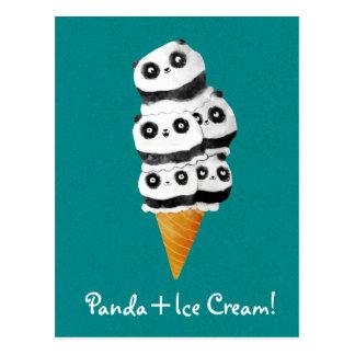 Postal Cono de helado dulce del oso de panda