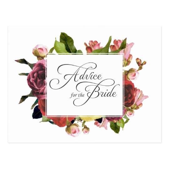 Postal Consejo floral color de rosa rosado para la novia