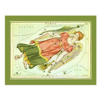Postal Constelación del virgo de la astrología del
