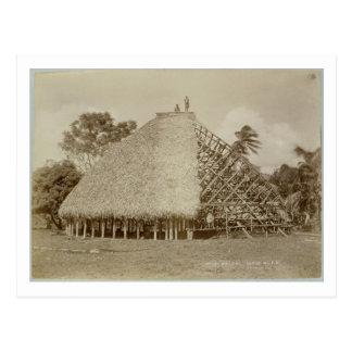 Postal Construcción de viviendas en Samoa, c.1875 (foto