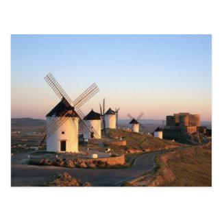 Postal Consuegra, La Mancha, España, molinoes de viento