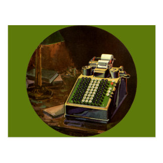 Postal Contable del negocio del vintage, máquina contable