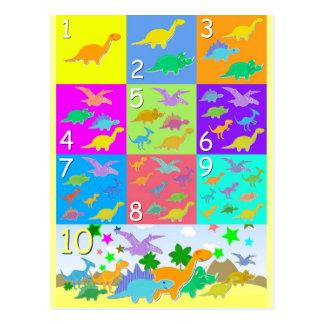 Postal Contemos con los números 1 a 10 de los dinosaurios