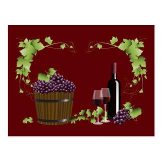 Postal Copas de vino y barril de vino