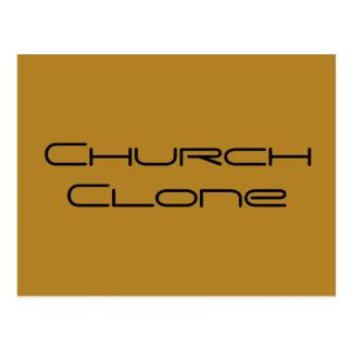 Postal Copia de la iglesia, letras geométricas, chraa