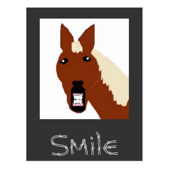 Postal copia del caballo, sonrisa