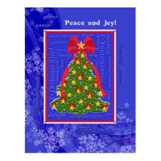 Postal Copos de nieve del árbol de Navidad de las letras