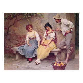 Postal Coqueteo de Eugene de Blaas- The