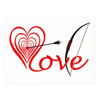 Postal Corazón amor blanco con flecha y arco