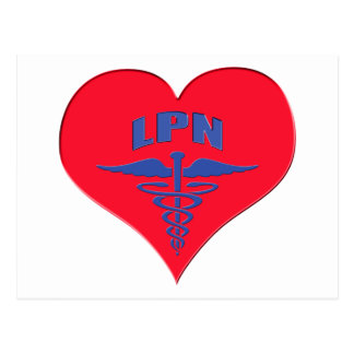 Postal Corazón autorizado del caduceo de la enfermera LPN