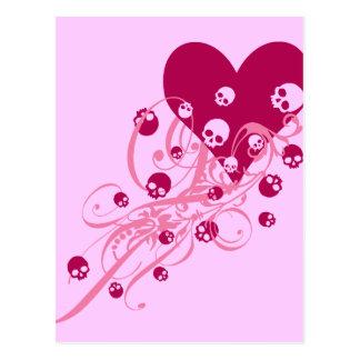 Postal Corazón con los cráneos rosados y los remolinos