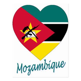 Postal Corazón de la bandera de Mozambique