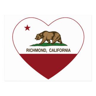 Postal corazón de Richmond de la bandera de California