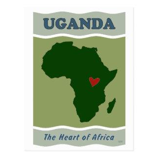 Postal Corazón de Uganda de África