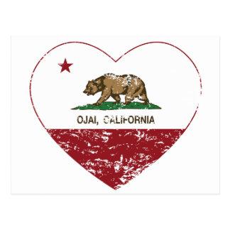 Postal corazón del ojai de la bandera de California