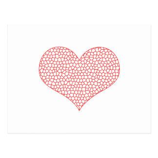 Postal Corazón - modelo geométrico - rojo y blanco