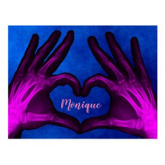 Postal Corazón púrpura de la radiografía de la mano