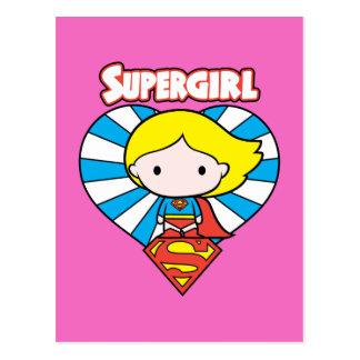 Postal Corazón y logotipo de Chibi Supergirl Starburst